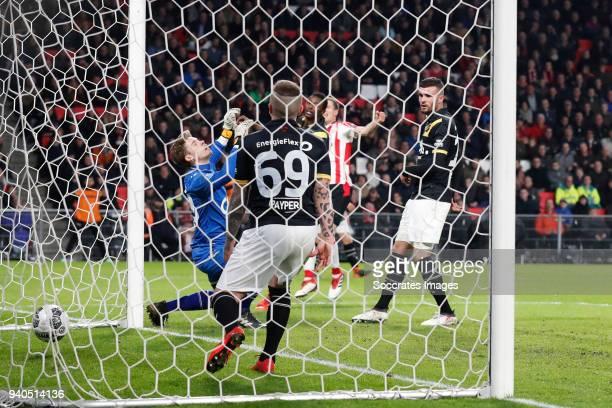 Nigel Bertrams of NAC Breda Jose Angel Esmoris Tasende Angelino of NAC Breda Umar Sadiq of NAC Breda Daniel Schwaab of PSV scores the second goal to...