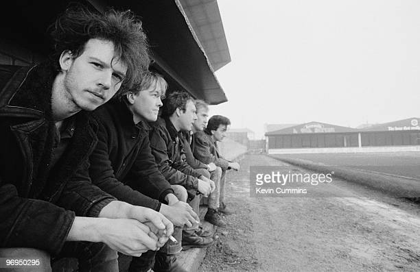 Nigel Blackwell Neil Crossley Simon Blackwell Paul Wright and David Lloyd of British band Half Man Half Biscuit at Prenton Park the home of Tranmere...
