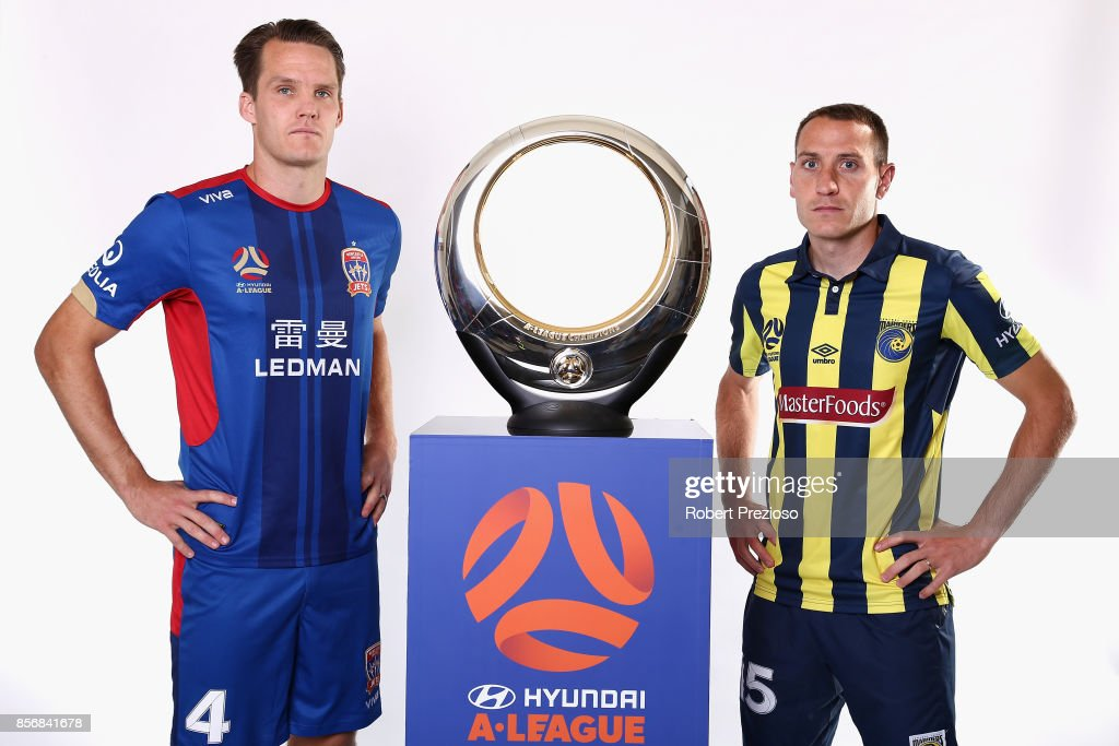 Nigel Boogaard of Newcastle United Jets and Alan Baró of Central Coast Mariners pose during the 2017/18 A-League Season Launch at Port Melbourne SC on October 3, 2017 in Melbourne, Australia.