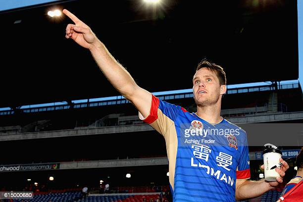 Nigel Boogaard of the Jets celebrates the win during the round two A-League match between the Newcastle Jets and the Brisbane Roar at Hunter Stadium...