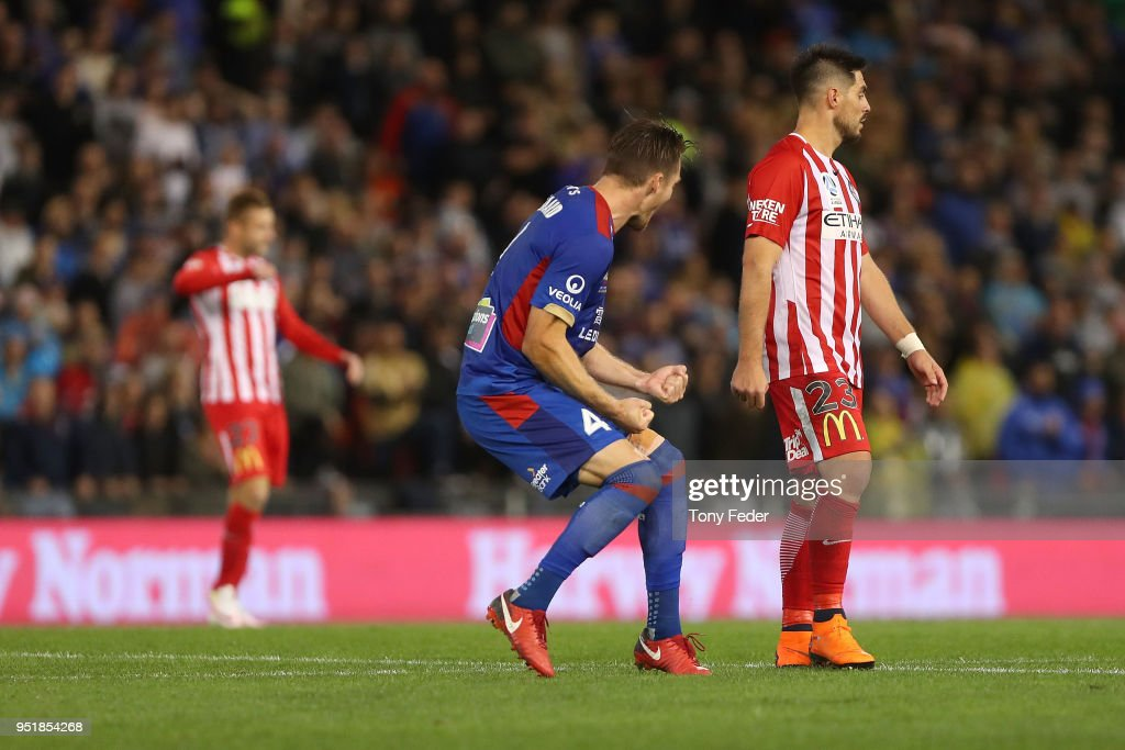 Nigel Boogaard of the Jets celebrates the win over Melbourne City during the A-League Semi Final match between the Newcastle Jets and Melbourne City at McDonald Jones Stadium on April 27, 2018 in Newcastle, Australia.
