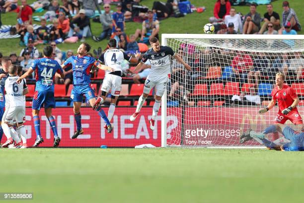 Nigel Boogaard of the Jets heads a goal during the round 19 A-League match between the Newcastle Jets and the Melbourne Victory at McDonald Jones...