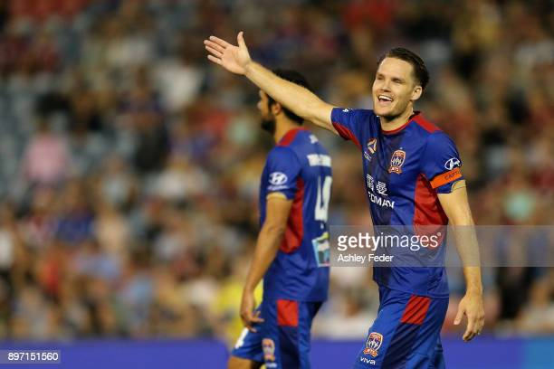 Nigel Boogaard of the Jets questions the final whistle being blown during a corner kick during the round 12 ALeague match between the Newcastle Jets...