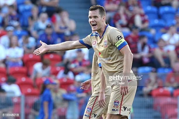Nigel Boogaard of the Jets reacts to a referees decision during the round 23 ALeague match between the Newcastle Jets and the Western Sydney...