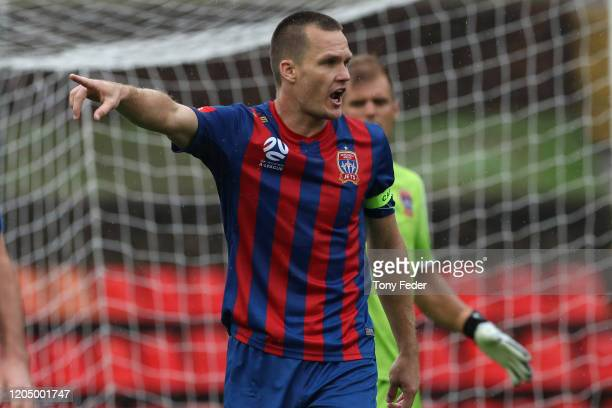 Nigel Boogaard of the Newcastle Jets during the round 18 A-League match between the Newcastle Jets and the Central Coast Mariners at McDonald Jones...