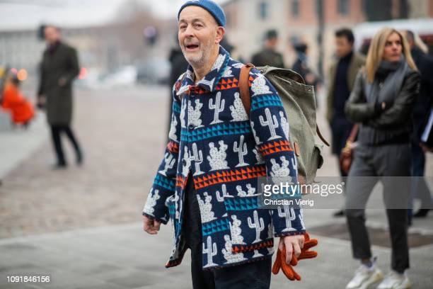 31f182f8ab253b Nigel Cabourn is seen wearing jacket with print beanie backpack during the  95th Pitti Uomo at. Nigel Cabourn - Backstage - LFWM June 2017