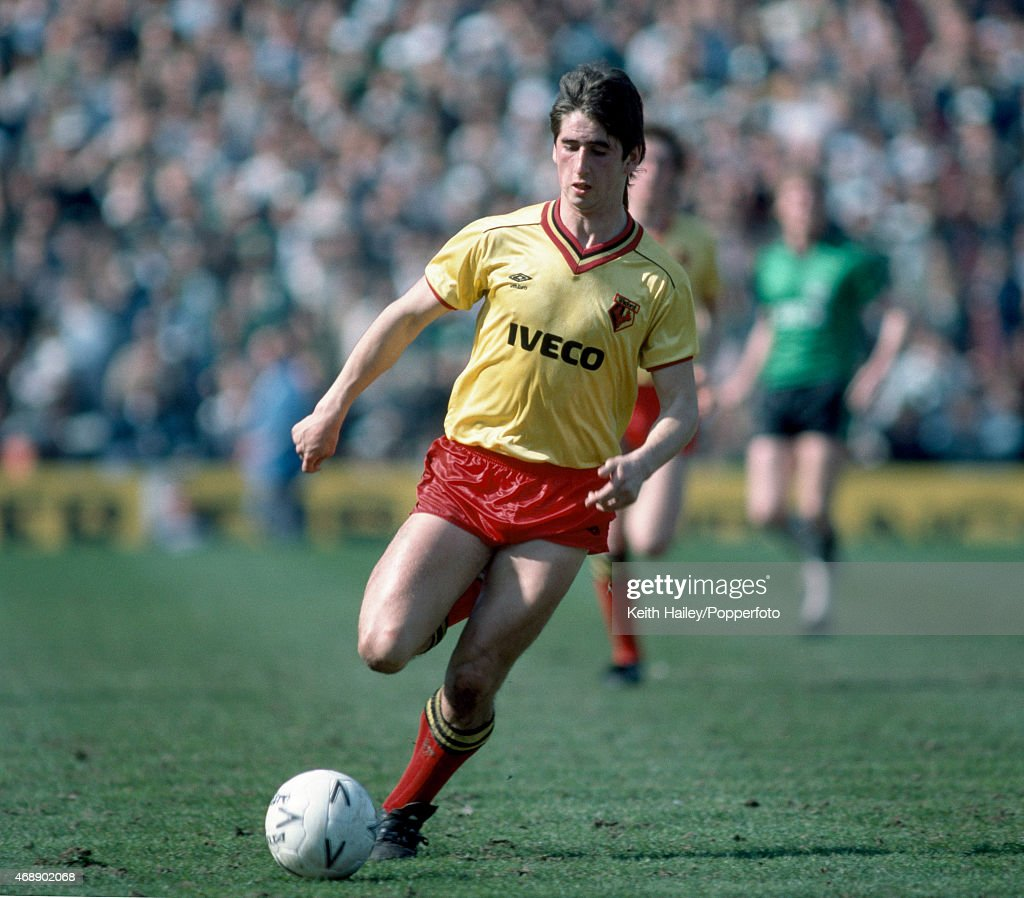 Nigel Callaghan in action for Watford during the FA Cup Semi-Final between Watford and Plymouth Argyle at Villa Park in Birmingham, 14th April 1984. Watford won 1-0.
