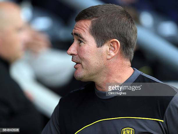 Nigel Clough manager of Burton Albion during the Pre Season Friendly match between Burton Albion and Stoke City at the Pirelli Stadium on July 16...