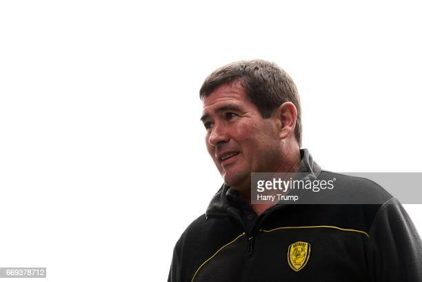 Nigel Clough Manager of Burton Albion during the Sky Bet Championship match between Birmingham City and Burton Albion at St Andrews on April 17 2017...