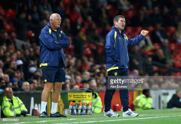 Nigel Clough manager of Burton Albion gives his team instructions during the Carabao Cup Third Round match between Manchester United and Burton...