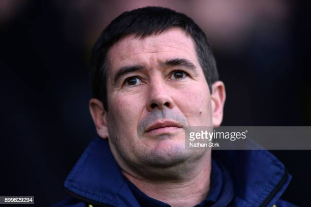 Nigel Clough manager of Burton Albion looks on during the Sky Bet Championship match between Burton Albion and Norwich City at Pirelli Stadium on...