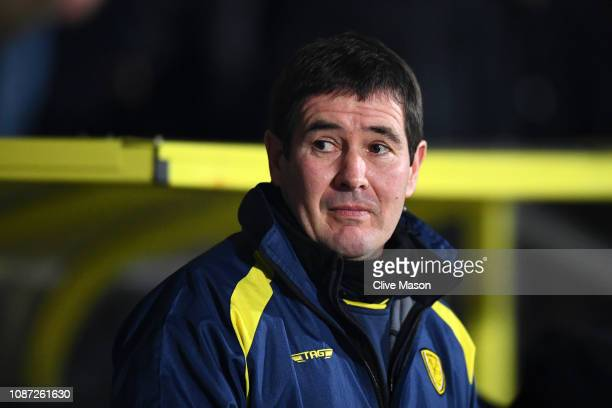 Nigel Clough Manager of Burton Albion looks on prior to the Carabao Cup Semi Final Second Leg match between Burton Albion and Manchester City at...