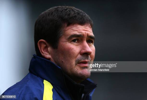 Nigel Clough manager of Burton Albion looks on prior to the Sky Bet Championship match between Fulham and Burton Albion at Craven Cottage on January...