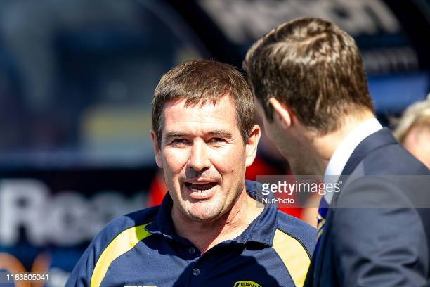 Nigel Clough Manager of Burton Albion talking to Sam Ricketts Manager of Shrewsbury Town during the Sky Bet League 1 match between Shrewsbury Town...