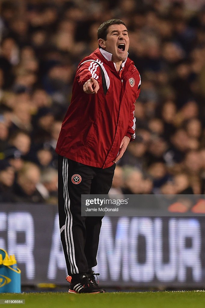 Nigel Clough, manager of Sheffield United gives instructions during the Capital One Cup Semi-Final first leg match between Tottenham Hotspur and Sheffield United at White Hart Lane on January 21, 2015 in London, England.