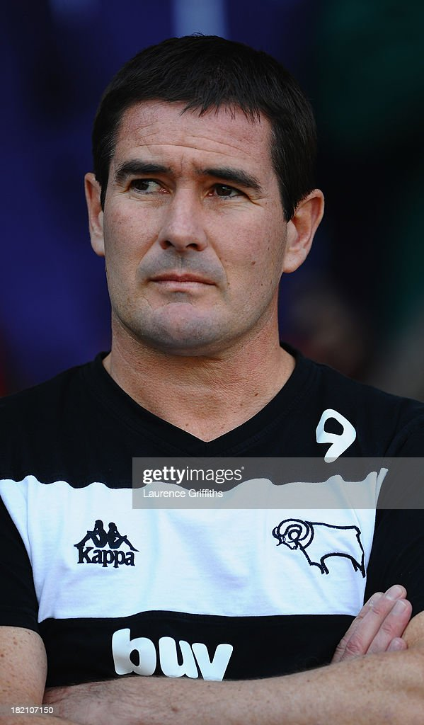 Nigel Clough of Derby County looks on during the Sky Bet Championship match between Nottingham Forest and Derby County at City Ground on September 28, 2013 in Nottingham, England,
