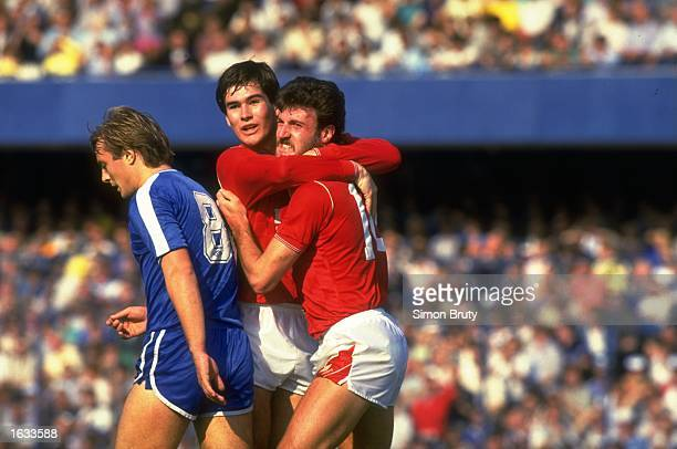 Nigel Clough of Nottingham Forest hugs a team mate during a Barclays League Division One match against Chelsea at Stamford Bridge in London Chelsea...