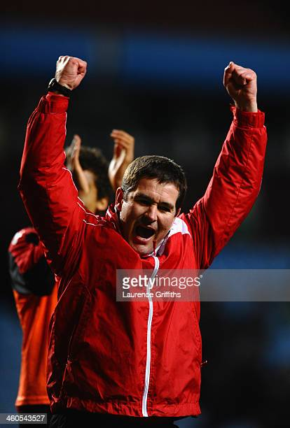 Nigel Clough of Sheffield United celebrates victory during the Budweiser FA Cup Third Round match between Aston Villa and Sheffield United at Villa...
