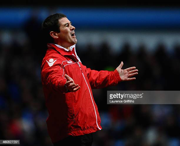 Nigel Clough of Sheffield United looks on during the Budweiser FA Cup Third Round match between Aston Villa and Sheffield United at Villa Park on...