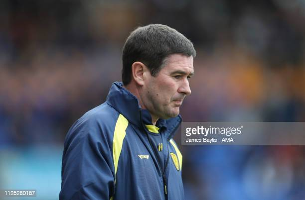 Nigel Clough the manager / head coach of Burton Albion during the Sky Bet League One match between Shrewsbury Town and Burton Albion at New Meadow on...