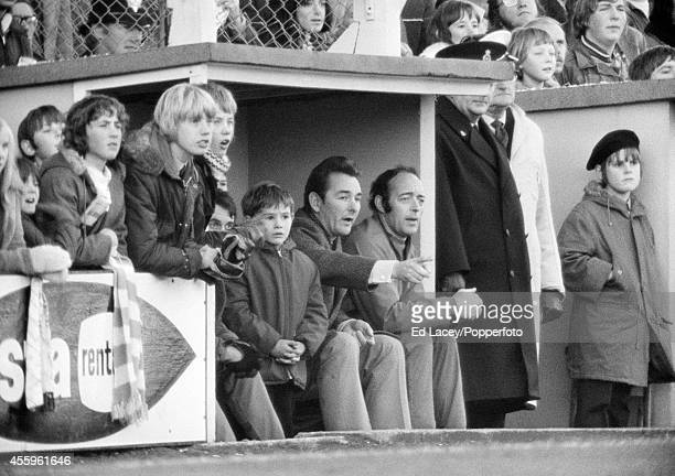 Nigel Clough with his father Brian Clough watching the Brighton and Hove Albion v Bristol Rovers football match at the Goldstone Ground in Hove on...