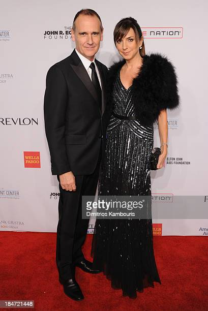 Nigel Curtiss and Monica Mitro attend the Elton John AIDS Foundation's 12th Annual An Enduring Vision Benefit at Cipriani Wall Street on October 15...