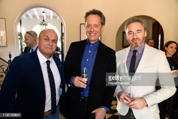 Nigel Daly, OBE Richard E. Grant and Michael Howells British Consul General in Los Angeles attend the Reception For UK Oscars Nominees at British...