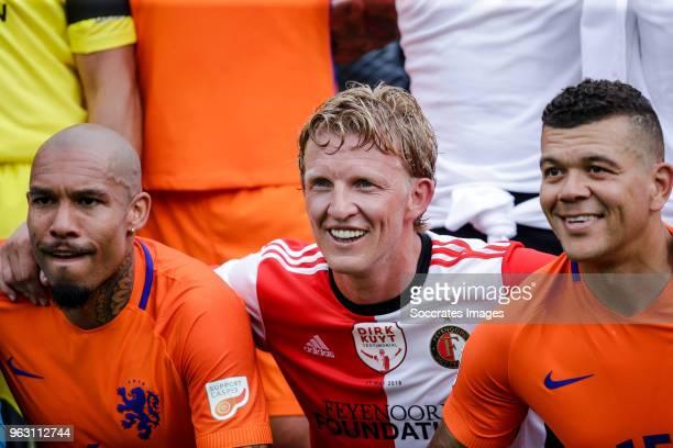 Nigel de Jong, Dirk Kuyt, Wilfred Bouma during the Dirk Kuyt Testimonial at the Feyenoord Stadium on May 27, 2018 in Rotterdam Netherlands