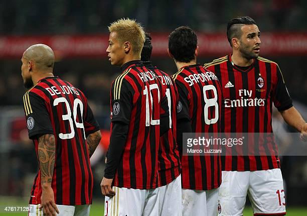 Nigel De Jong Keisuke Honda Riccardo Saponara and Adil Rami during the Serie A match between AC Milan and Juventus at San Siro Stadium on March 2...