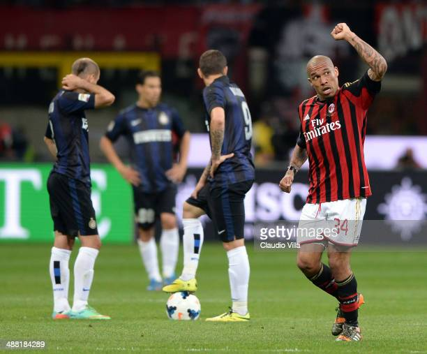 Nigel de Jong of AC Milan celebrates scoring the first goal during the Serie A match between AC Milan and FC Internazionale Milano at Stadio Giuseppe...