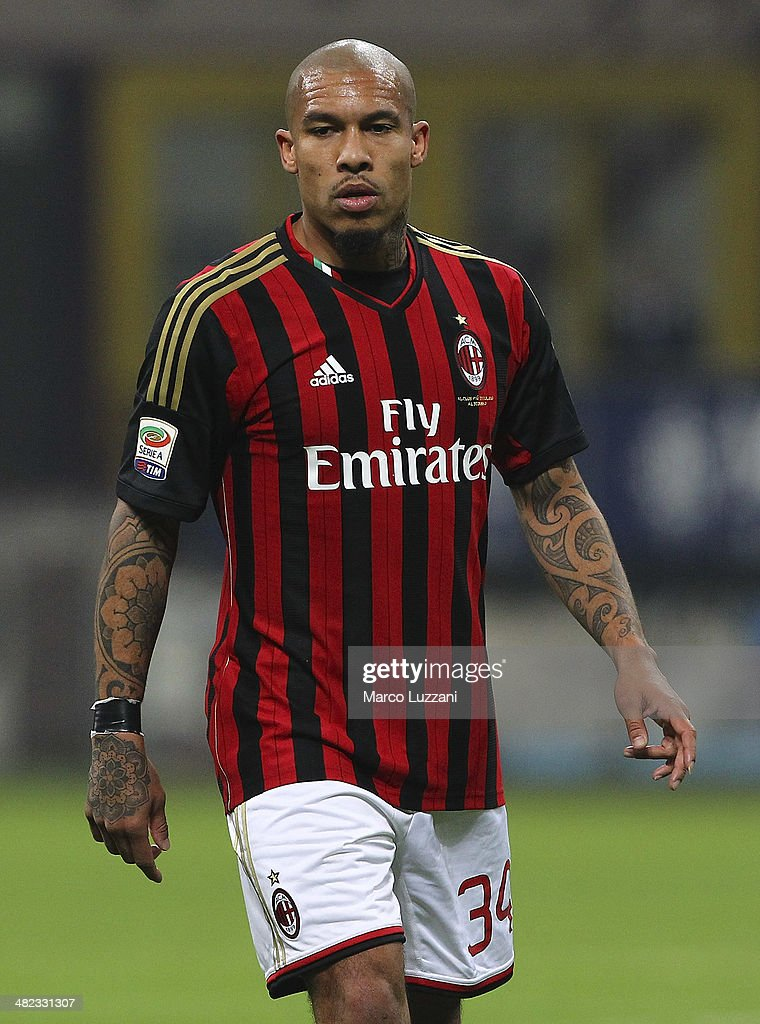 Nigel De Jong of AC Milan looks on during the Serie A match between AC Milan and AC Chievo Verona at San Siro Stadium on March 29, 2014 in Milan, Italy.