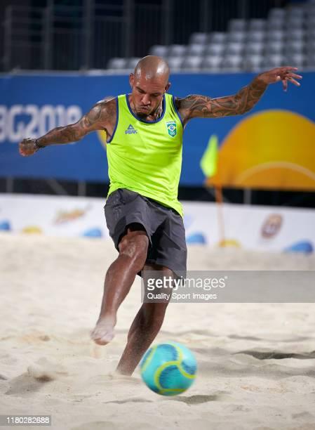 Nigel de Jong of Al-Shahaniya SC participates in the training of Brazilian beach soccer players before the ANOC World Beach Games Qatar 2019 at...