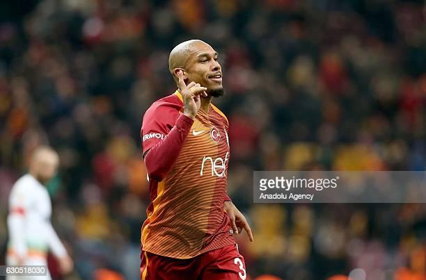 Nigel De Jong of Galatasaray celebrates after scoring a goal during the Turkish Spor Toto Super Lig football match between Galatasaray and Aytemiz...