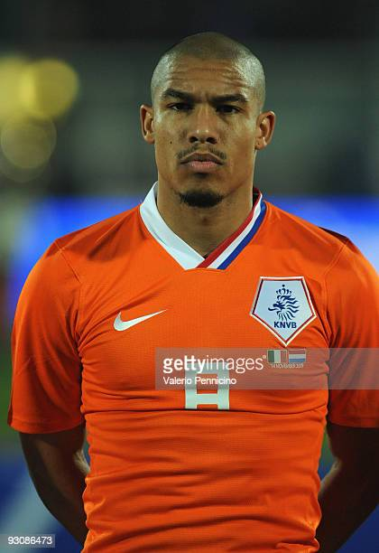 Nigel de Jong of Holland lines up for the anthems prior to kickoff during the international friendly match between Italy and Holland at Adriatico...