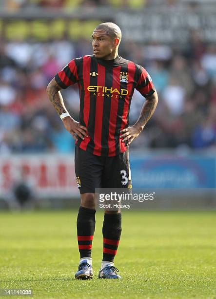 Nigel De Jong of Manchester City looks on during the Barclays Premier League match between Swansea City and Manchester City at the Liberty Stadium on...