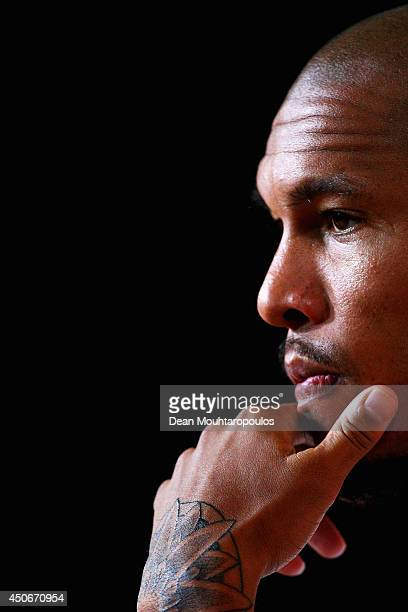 Nigel de Jong speaks to the media during the Netherlands training session at the 2014 FIFA World Cup Brazil held at the Estadio Jose Bastos Padilha...