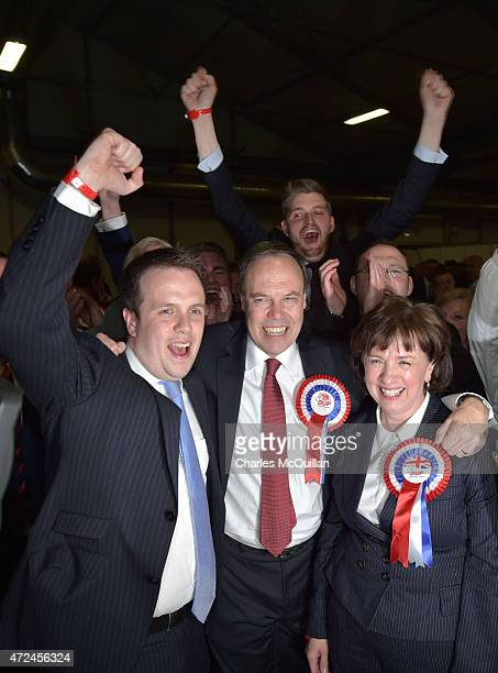 Nigel Dodds celebrates with supporters and family after his win as the General Election count takes place at the King's Hall on May 8 2015 in Belfast...