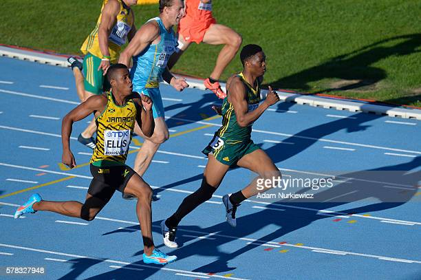 Nigel Ellis from Jamaica and Tlotliso Leotlela from South Africa compete in men's 200 metres semifinal during the IAAF World U20 Championships at the...