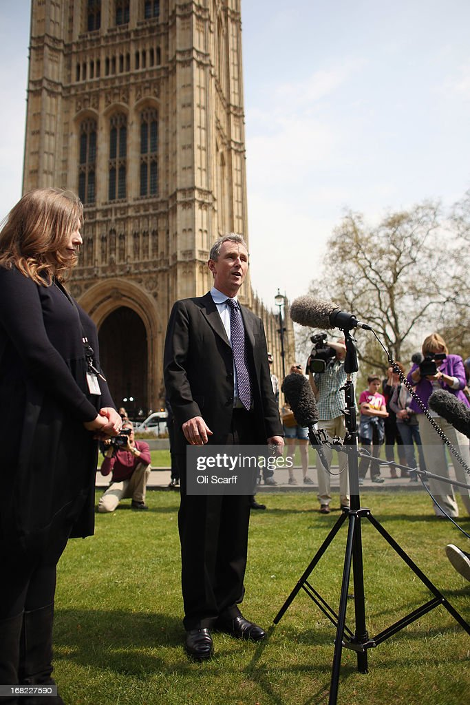 Nigel Evans (C), the Deputy Commons Speaker who was arrested at the weekend over rape and sexual assault allegations, addresses the media in front of the Houses of Parliament on May 7, 2013 in London, England. Mr Evans, the Conservative MP for Ribble Valley in Lancashire, has been questioned about alleged attacks on two men, something which he strenuously denies.
