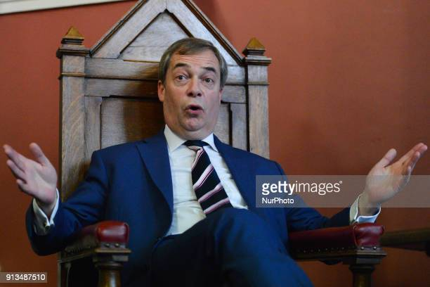 Nigel Farage a British politician and the former leader of the UK Independence Party takes part in a Quastions and Answers meeting with students at...