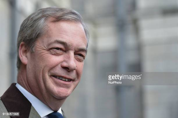 Nigel Farage a British politician and the former leader of the UK Independence Party arrives ahead of 'Questions and Answers' meeting with students...