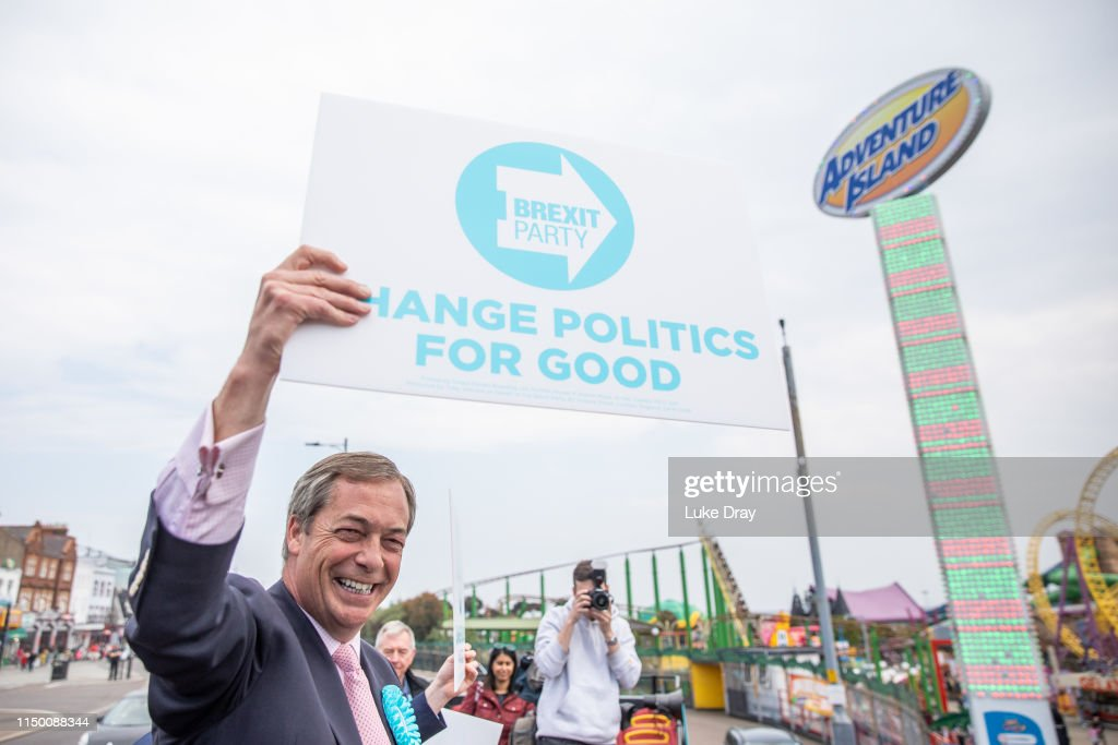 GBR: Nigel Farage Tours Essex With The Brexit Party