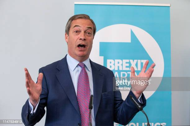 Nigel Farage addresses the media during the Brexit Party's first press conference of the European election campaign on May 07 2019 in London England...