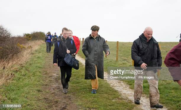 Nigel Farage at Easington Colliery during The March to Leave protest which set off from Sunderland on Saturday morning and will make its way to...