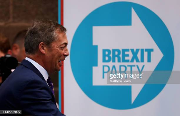 Nigel Farage at the launch of the Brexit Party at BG Penny Co on April 12 2019 in Coventry England Former UKIP leader Nigel Farage has launched the...