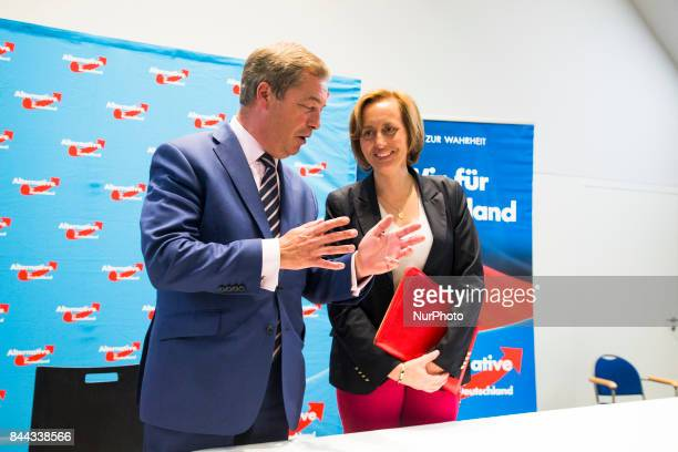 Nigel Farage attends a press conference with Beatrix von Storch at the Citadel Spandau in Berlin Germany on September 8 2017