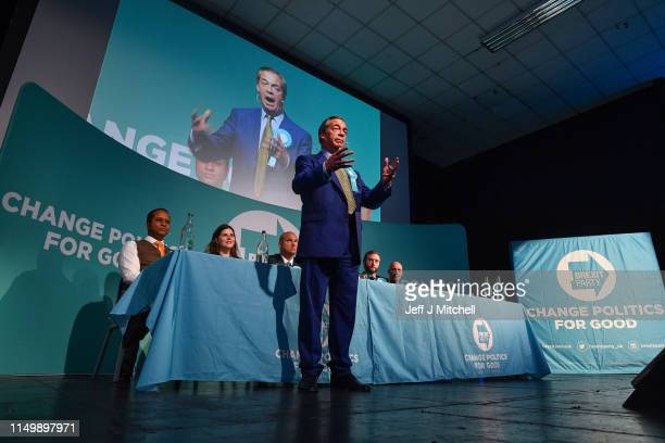 Nigel Farage attends a rally with the Brexit Party's European election candidates at the Corn Exchange in Edinburgh on May 17 2019 in Edinburgh...