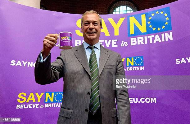 Nigel Farage attends the UKIP referendum campaign launch at the Emmanuel Centre on September 4, 2015 in London, England. During the talk the UKIP...