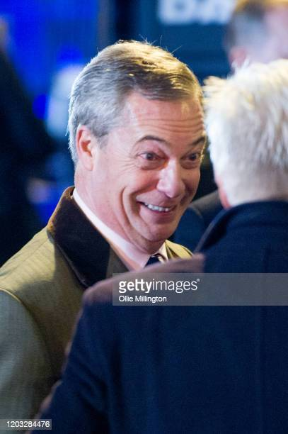 Nigel Farage backstage before talking to the assembled crowd in Parliament Square at the Leave Means Leave Brexit Celebration on January 31, 2020 in...