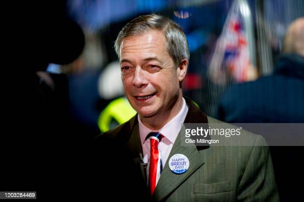 Nigel Farage backstage doing a live TV interview moments before talking to the assembled crowd in Parliament Square at the Leave Means Leave Brexit...